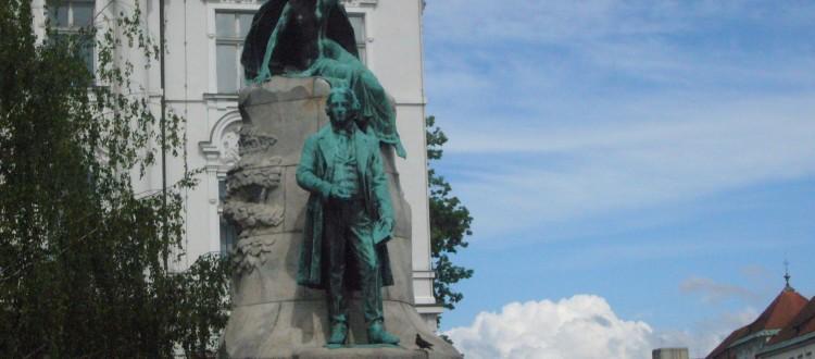 Preseren's statue in Ljublijana