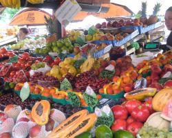 Fresh fruit on market day in Ljubljana