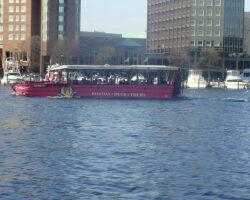 Penelope Pru floating on the Hudson river